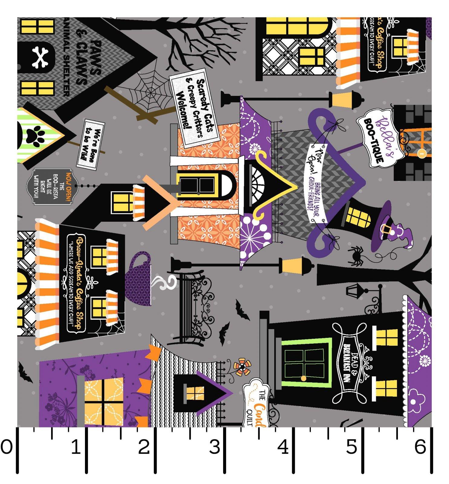 EESC-9920 K - HOMETOWN HALLOWEEN BY KIMBERBELL HOMETOWN HOUSES GREY - ARRIVING IN JULY 2021