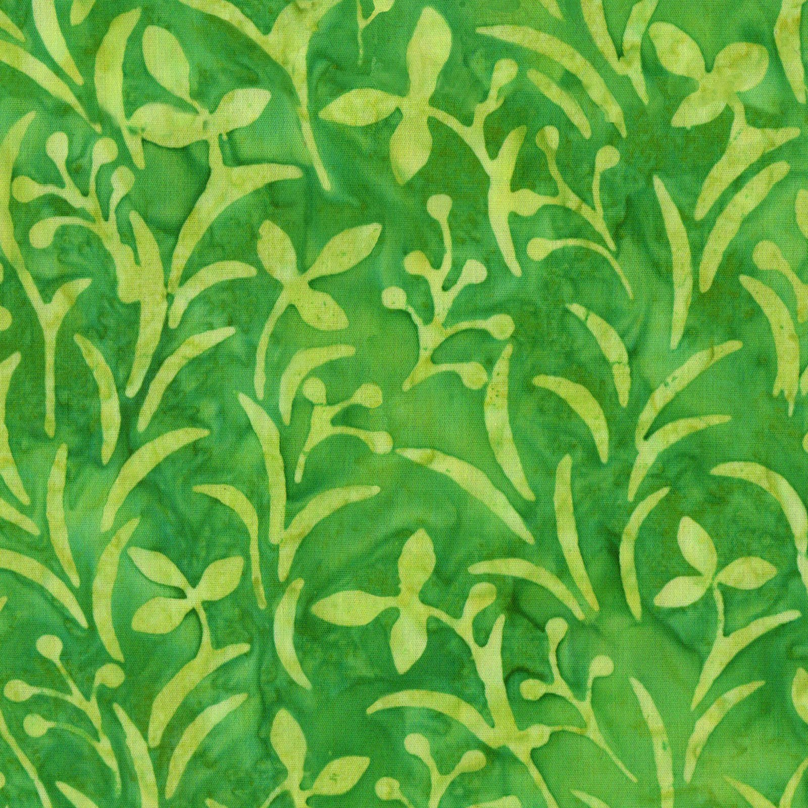 EESC-B53 G - COLOR THERAPY BATIKS BY MAYWOOD STUDIO TOSSED FLOWERS GRASS GREEN - ARRIVING DECEMBER 2020