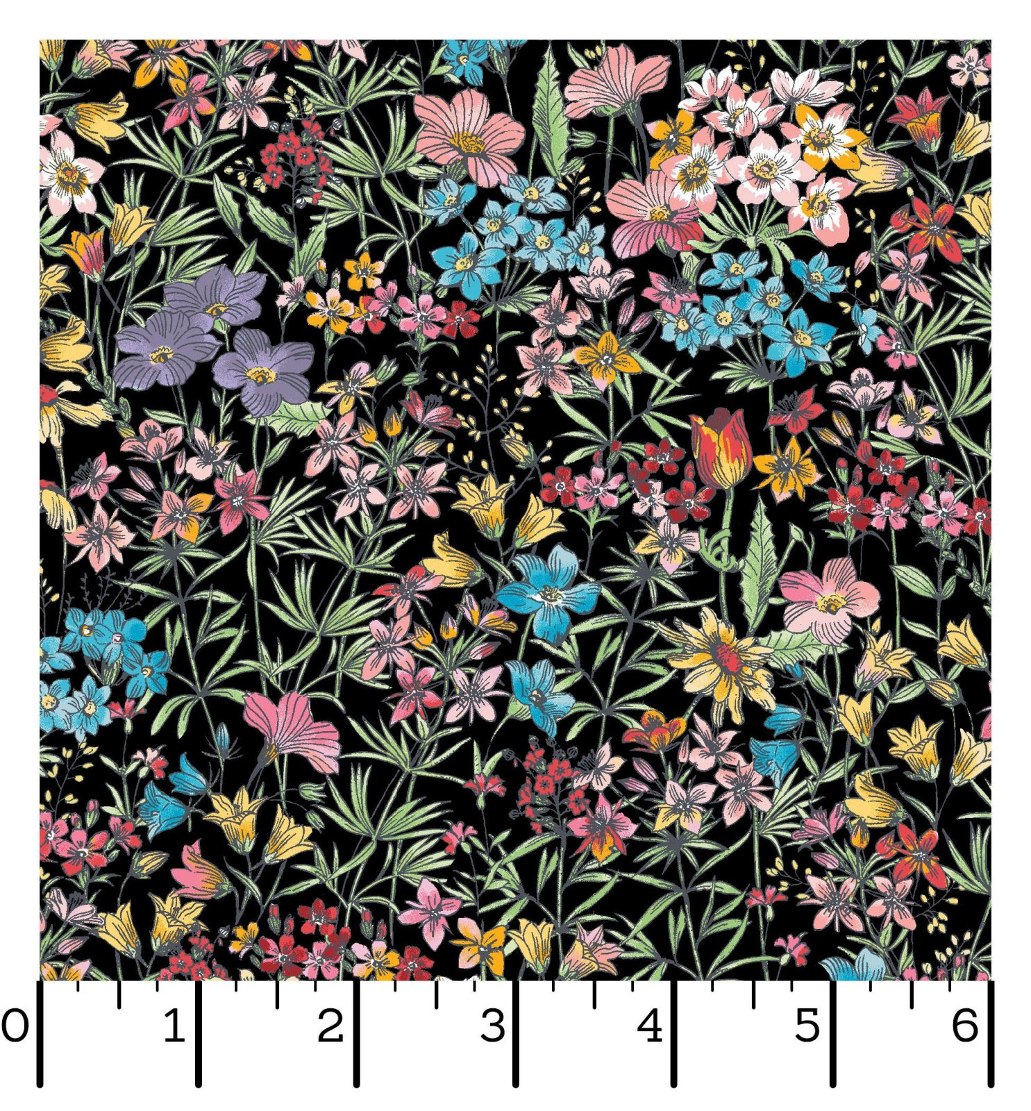 EESC-D10003 J - MEADOW EDGE BY MAYWOOD STUDIO SMALL PACKED FLOWER BLACK - ARRIVING IN MAY 2021