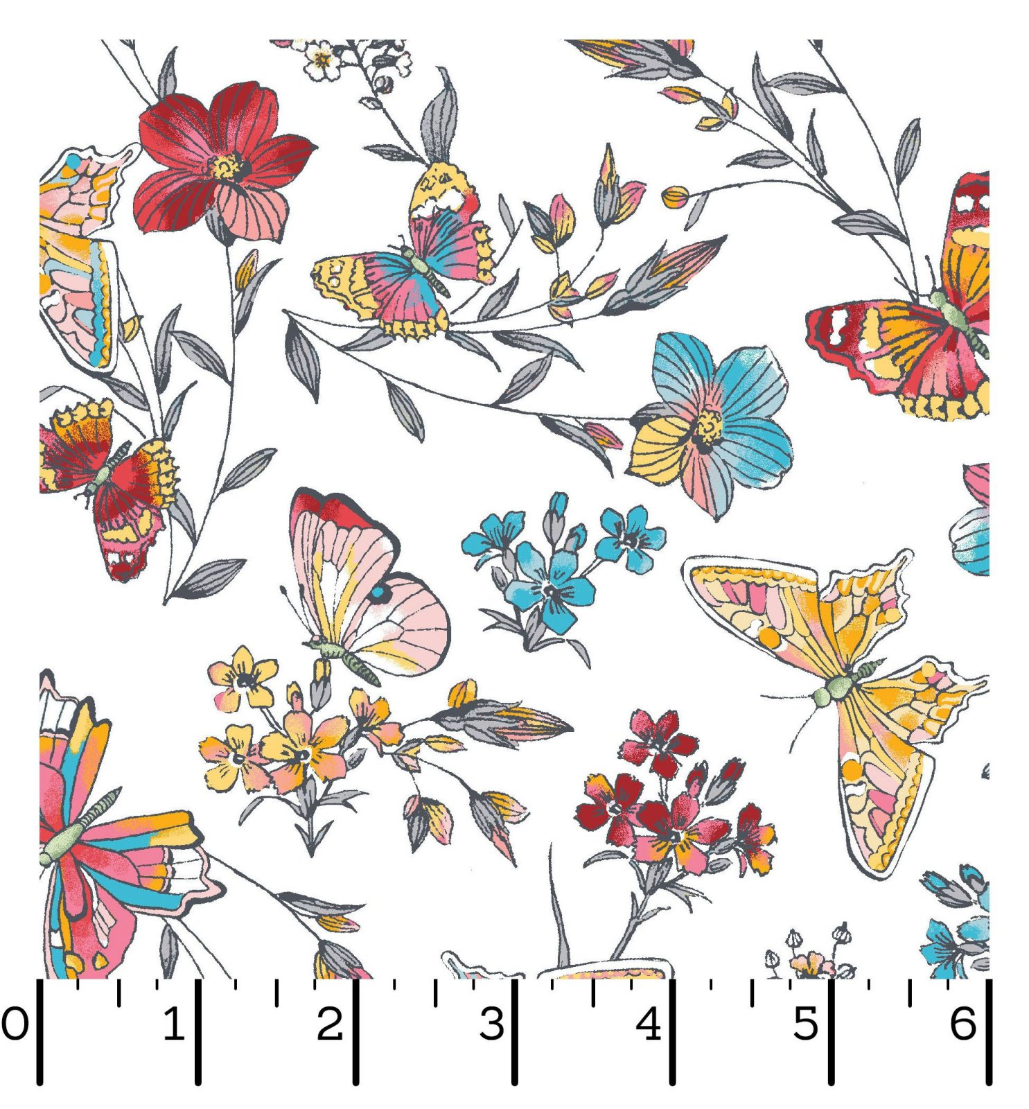 EESC-D10004 W - MEADOW EDGE BY MAYWOOD STUDIO BUTTERFLIES WHITE - ARRIVING IN MAY 2021
