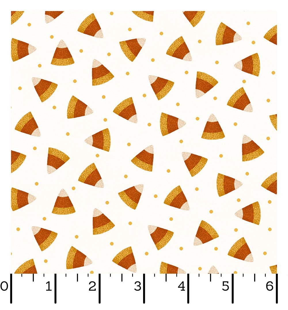 EESC-F9402 E - HAPPY JACKS&FRIENDS FLANNEL BY BONNIE S. CANDY CORN CREAM