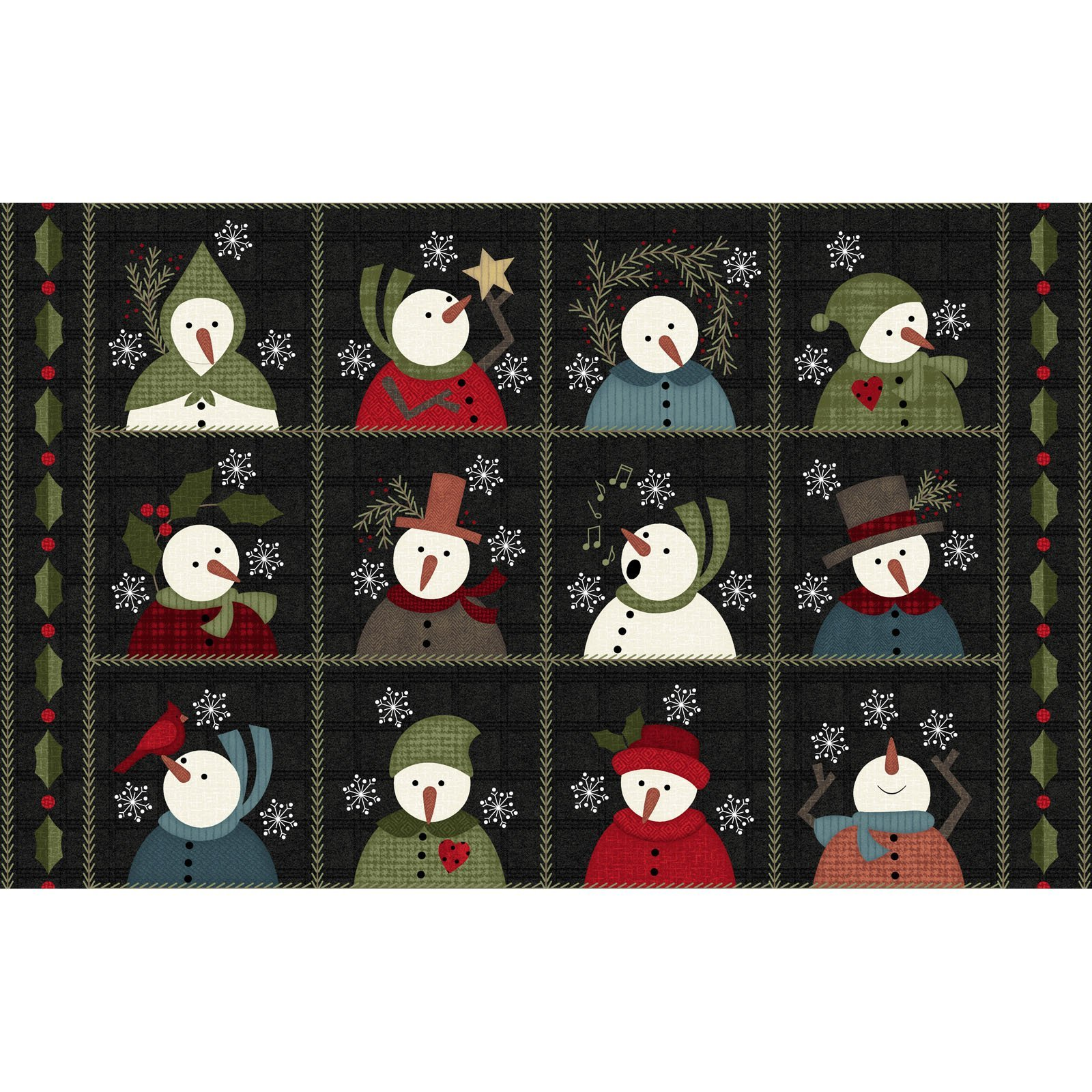 EESC-F9930 JK - SNOWDAYS FLANNEL BY BONNIE SULLIVAN SNOW SQS 9 CHARCOAL - ARRIVING IN JULY 2021