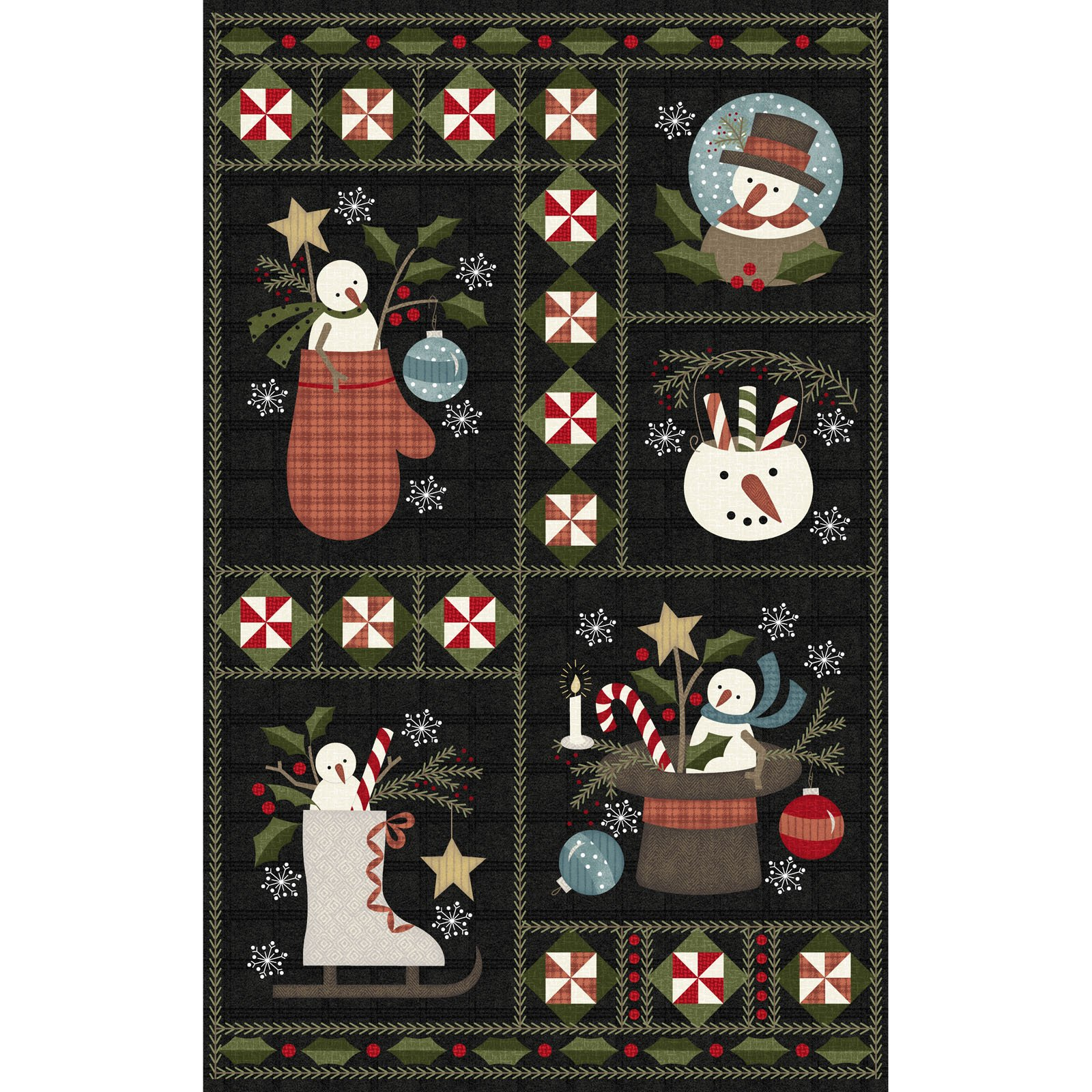EESC-F9931 JK - SNOWDAYS FLANNEL BY BONNIE SULLIVAN PANEL 27 CHARCOAL - ARRIVING IN JULY 2021