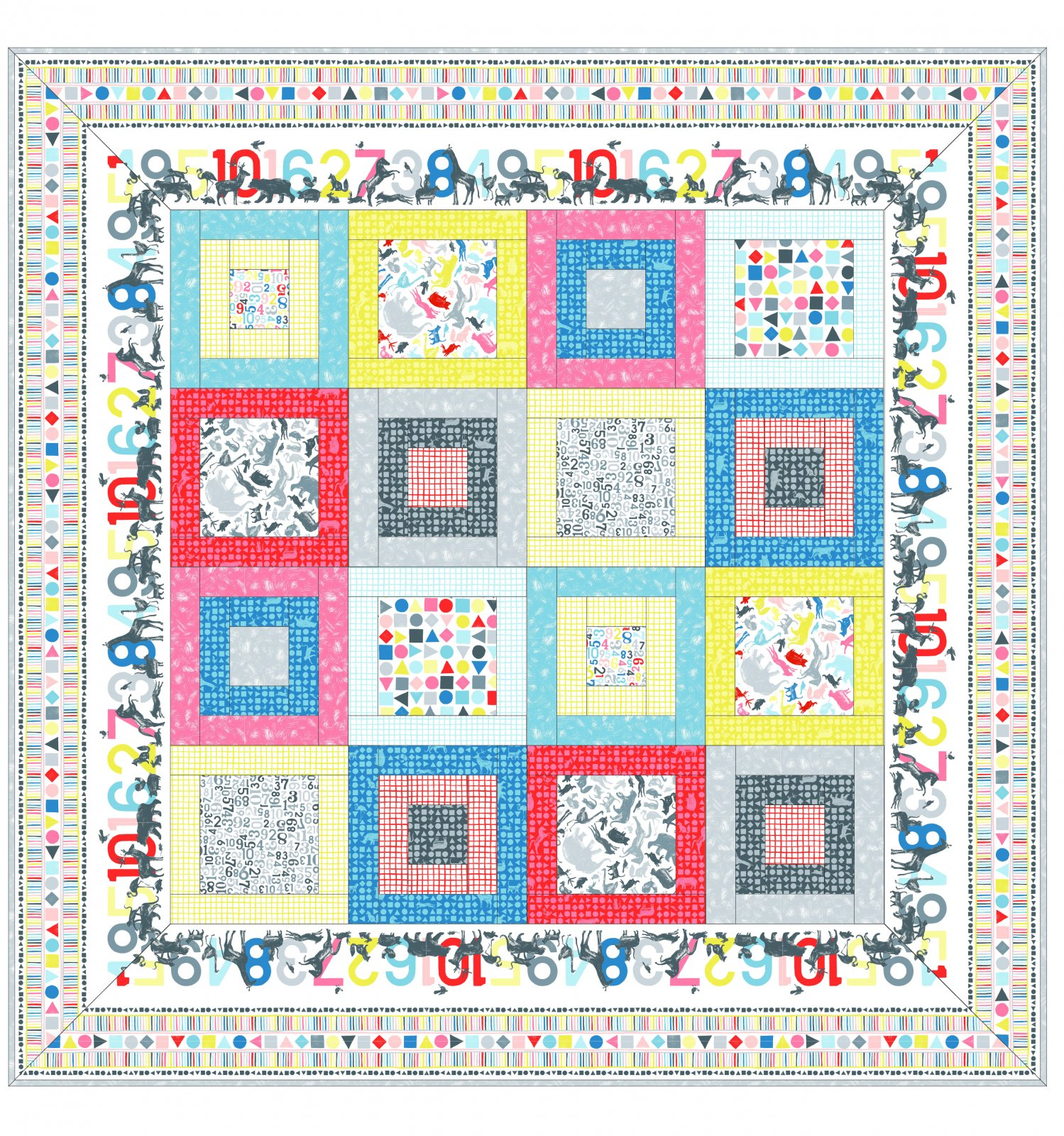 EESC-KITMASCAC - CAN ANIMALS COUNT? QUILT KIT 70 x 70 - ARRIVING IN OCTOBER 2021