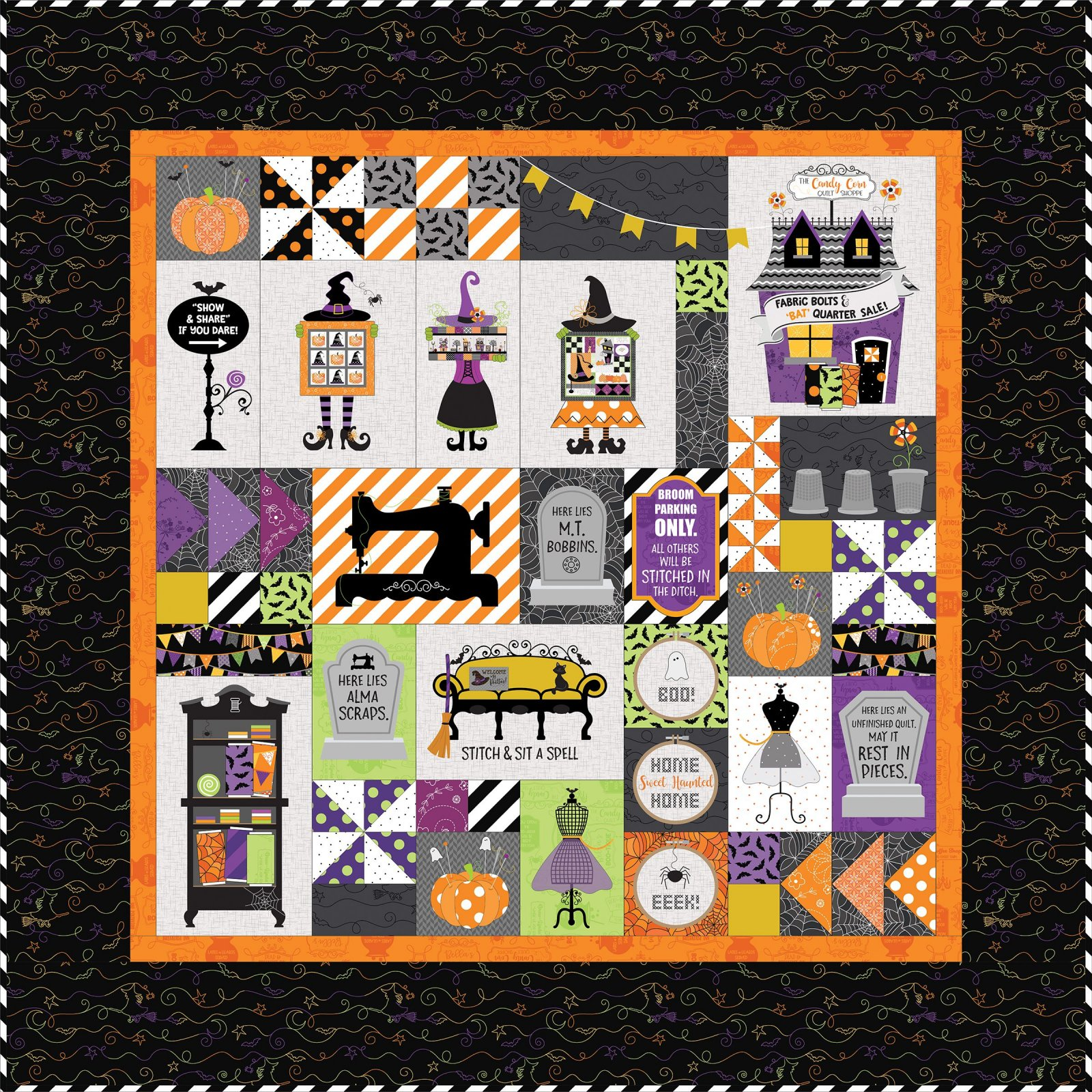 EESC-KITMASHTH - HOMETOWN HALLOWEEN - CANDY CORN QUILT SHOP KIT - FABRIC ONLY - ARRIVING IN JULY 2021