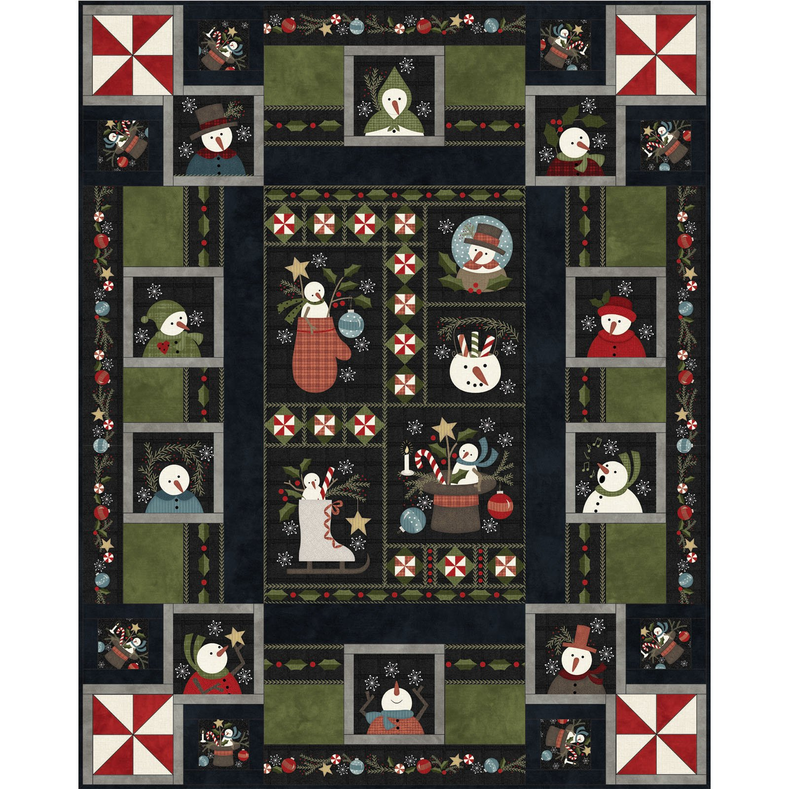 EESC-KITMASSNDF - SNOWDAYS FLANNEL - SNOWDAYS FLANNEL QUILT KIT 63 x 78 - ARRIVING IN JULY 2021