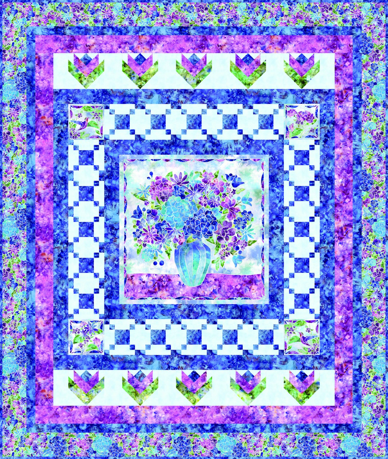 EESC-KITMASSPC - FIRE & ICE - SPRING INTO COLOR QUILT KIT 65 x 77 - ARRIVING IN OCTOBER 2021
