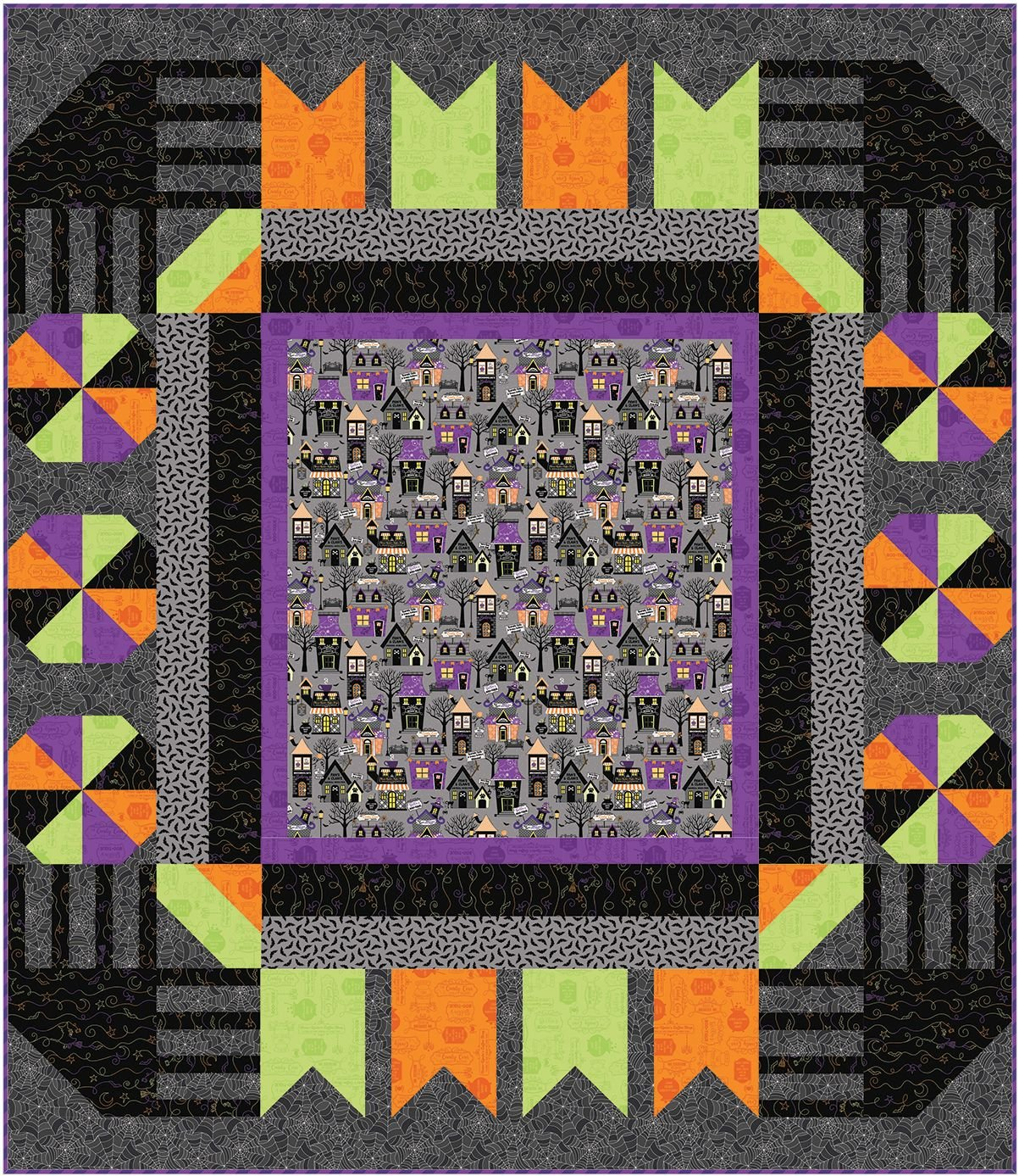 EESC-KITMASTSQ - HOMETOWN HALLOWEEN - TOWN SQUARE QUILT KIT 57.5 x 66 - ARRIVING IN JULY 2021