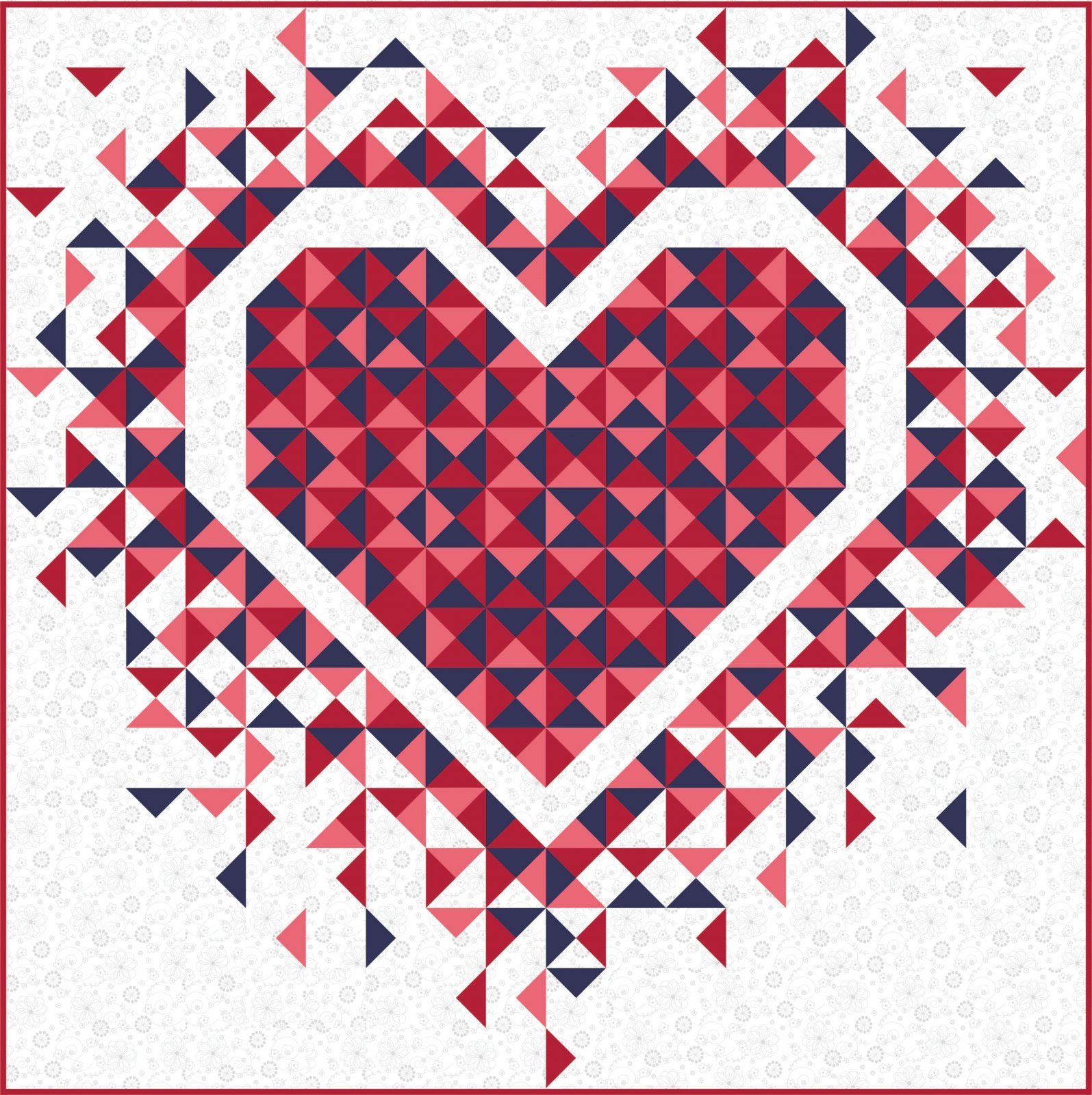 EESC-SPQ332 - EXPLODING HEART QUILT PATTERN BY SLICE OF PI QUILTS