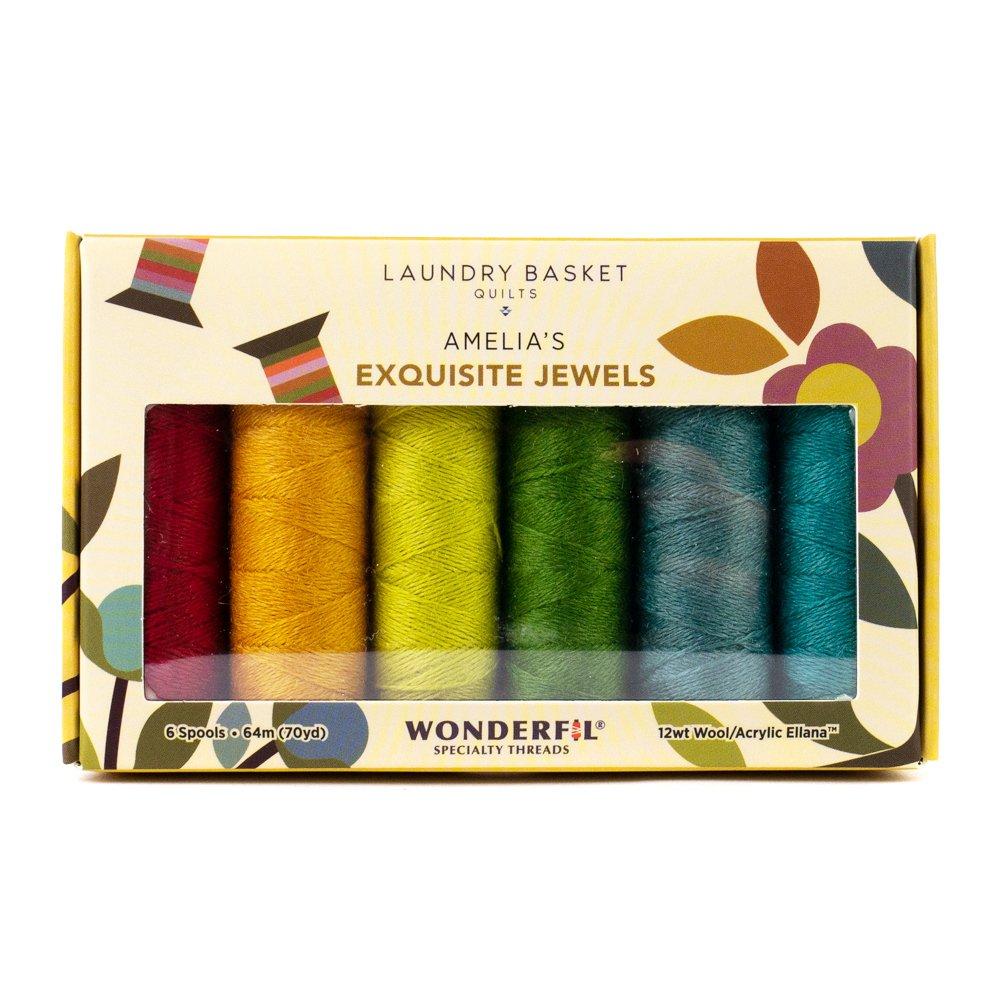WOND-LBQPAEJEWELS - LAUNDRY BASKET QUILTS BOX SET AMELIA'S EXQUISITE JEWELS  Ellana 12wt 50/50 wool/acrylic blend ? 6 spools - 64m (70yd)