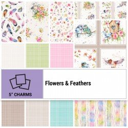 FLFE-005X5 - FLOWERS&FEATHERS 5 SQUARES BY P&B BOUTIQUE 42PCS - ARRIVING IN JULY 2021