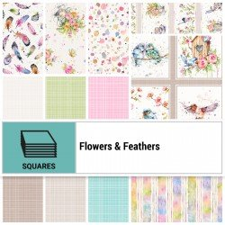 FLFE-10X10 - FLOWERS&FEATHERS 10 SQUARES BY P&B BOUTIQUE 42PCS - ARRIVING IN JULY 2021