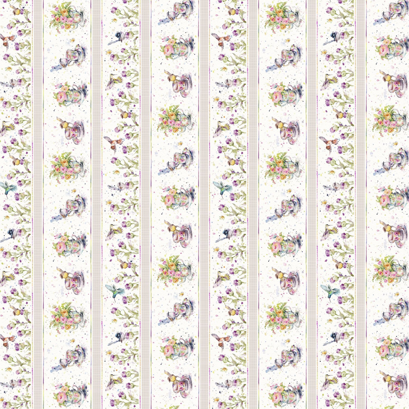 FLFE-4470 MU - FLOWERS&FEATHERS BY SILLIER THAN SALLY WIDE STRIPE MULTI - ARRIVING IN JULY 2021