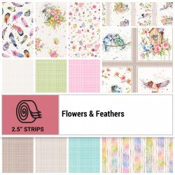 FLFE-STRIPS - FLOWERS&FEATHERS 2.5 STRIP ROLLS BY P&B BOUTIQUE 40PCS - ARRIVING IN JULY 2021
