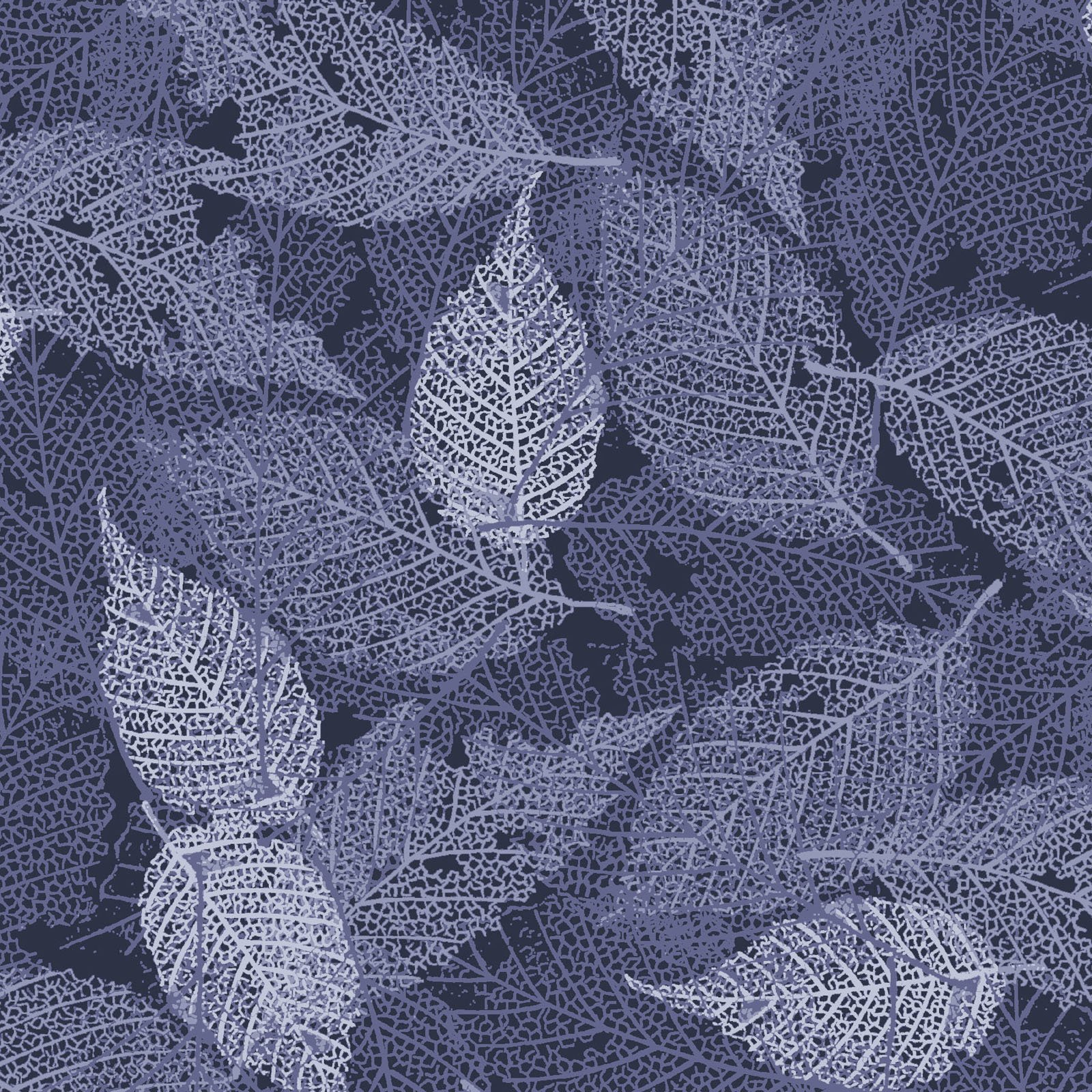 FOLI-4478 SB - FOLIAGE BY P&B BOUTIQUE TEXTURE LEAVES SILVER/BLUE - ARRIVING IN MAY 2021