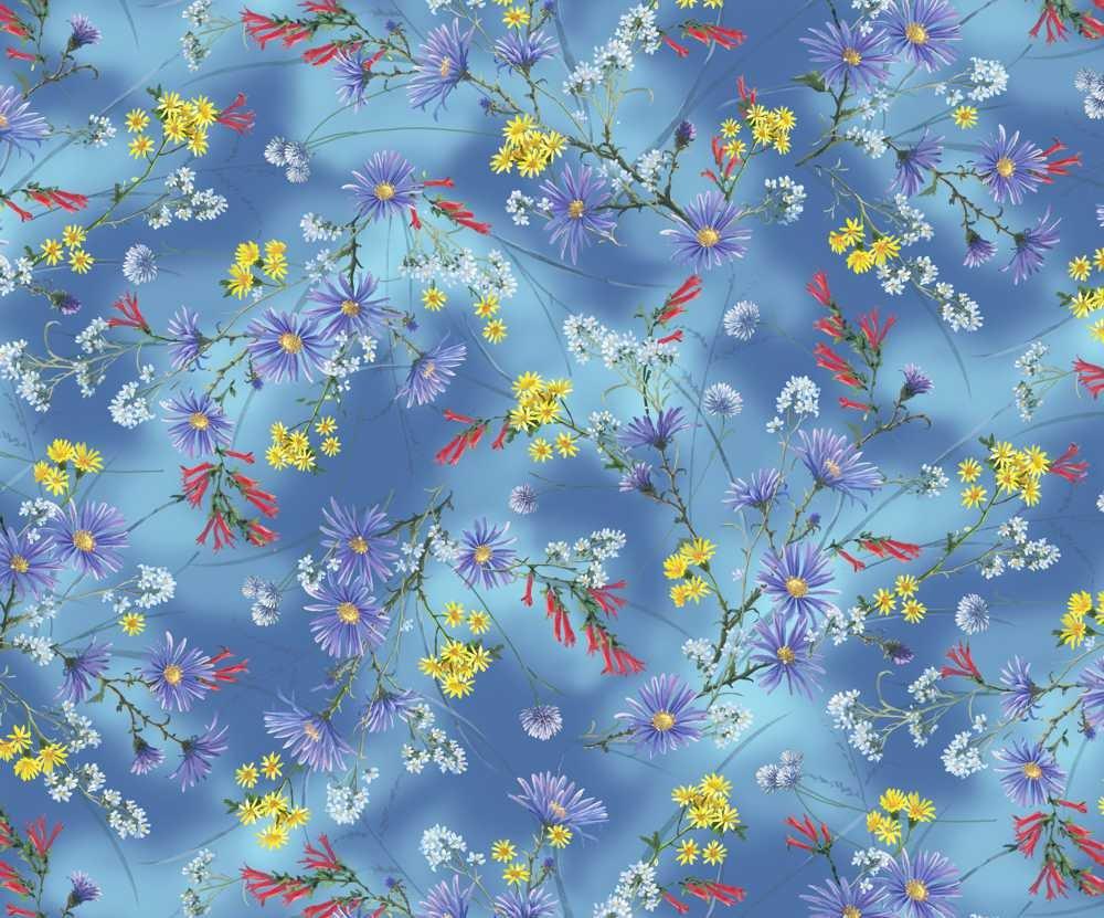 HUMB-4084 B - HUMMINGBIRDS BY ABRAHAM HUNTER FLOWERS BLUE
