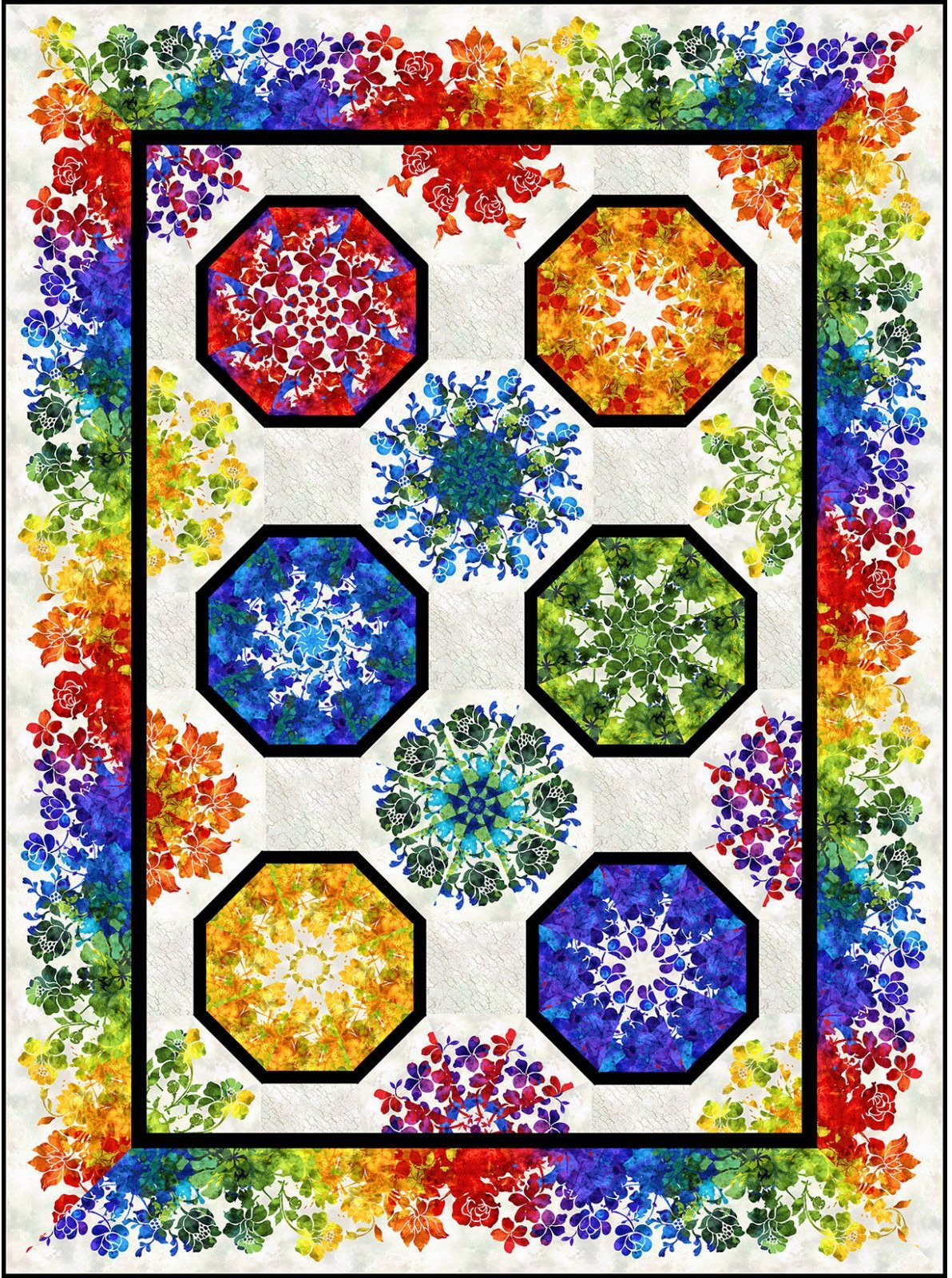 INTH-SS K PATT - THE SUNSHINE COLLECTION - SUNSHINE ONE FABRIC KALEIDOSCOPE QUILT PATTERN - ARRIVING IN FEBRUARY 2022