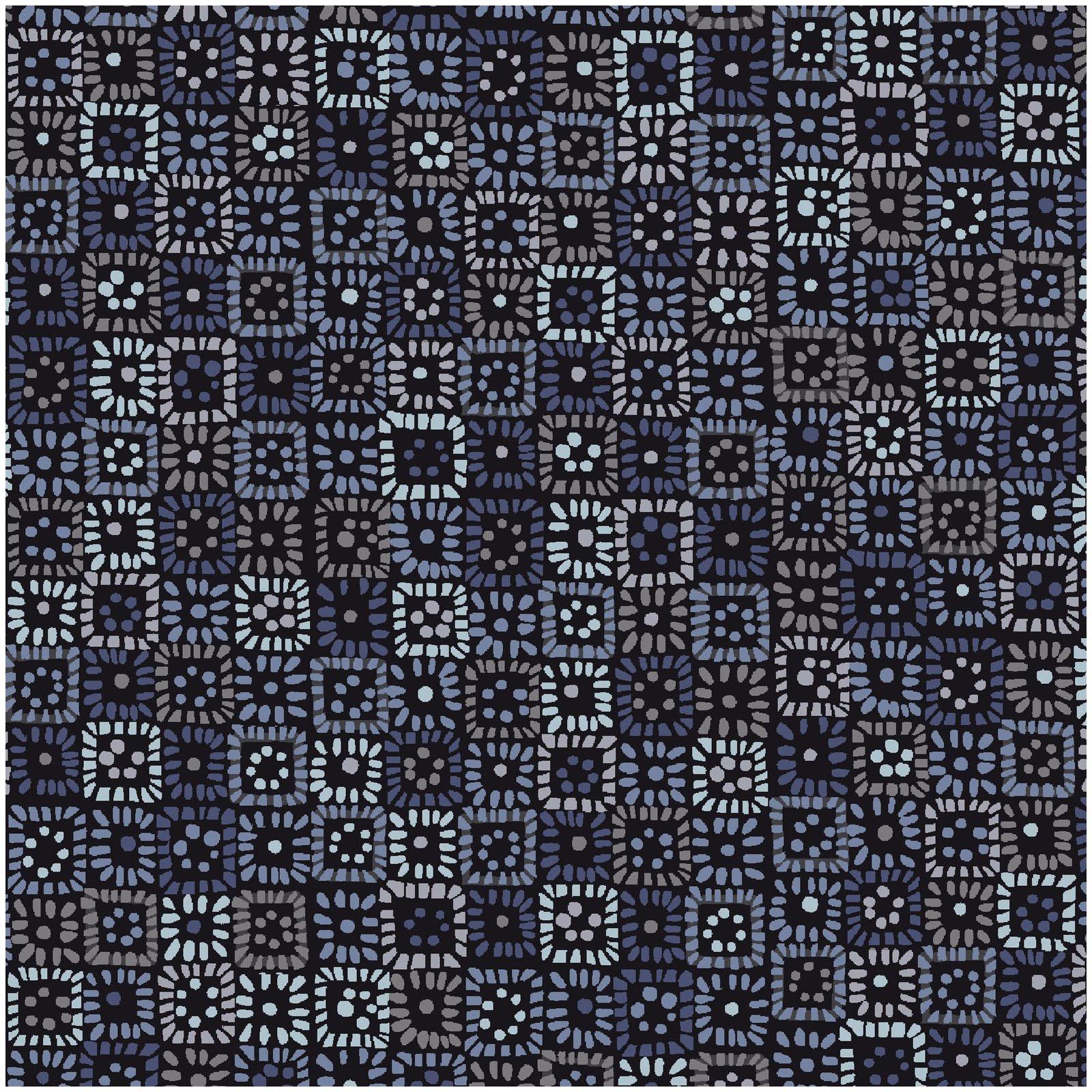 KASK-4232 B - KASHMIR KALEIDOSCOPE BY P&B BOUTIQUE SQUARES BLUE