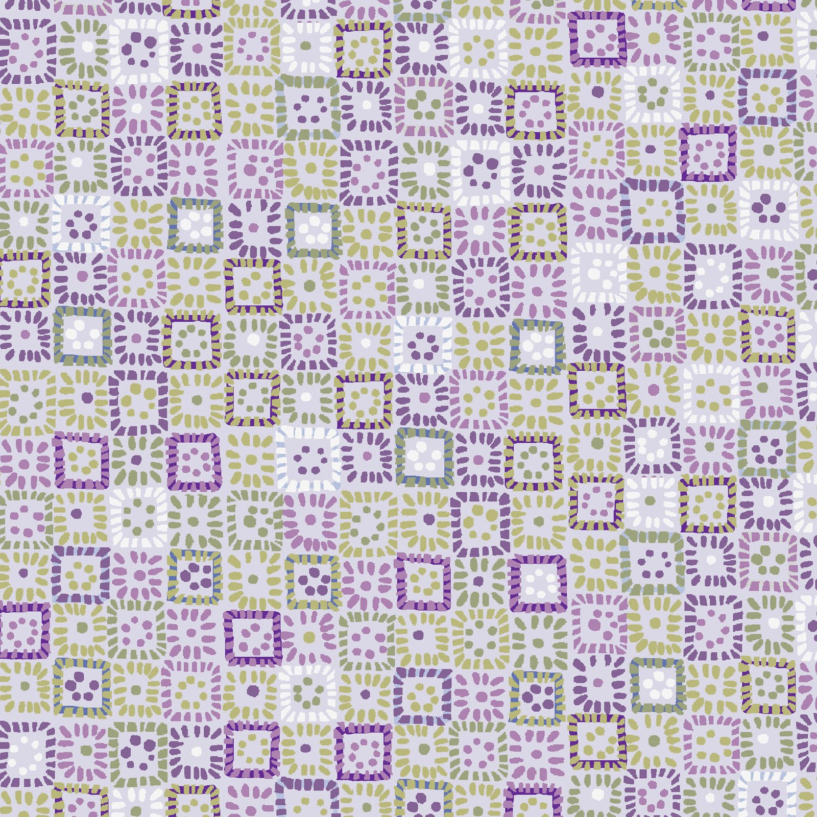 KASK-4232 C - KASHMIR KALEIDOSCOPE BY P&B BOUTIQUE SQUARES PURPLE