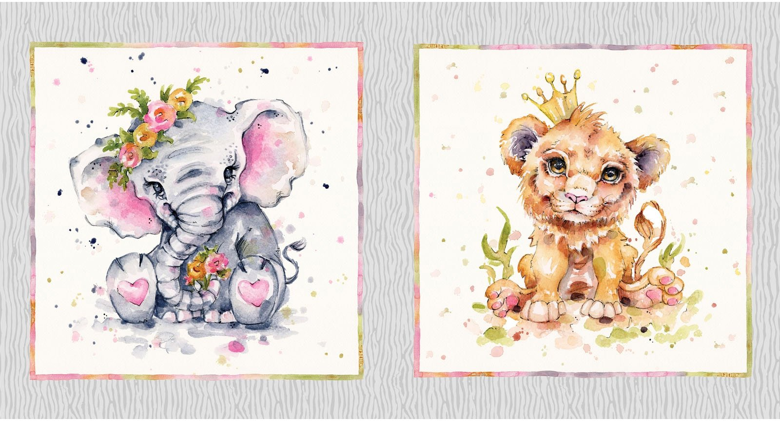 LDSA-4546 PA - LITTLE DARLINGS SAFARI BY SILLIER THAN SALLY ELEPHANT/LION 10YDS/15PNLS - ARRIVING IN FEBRUARY 2022