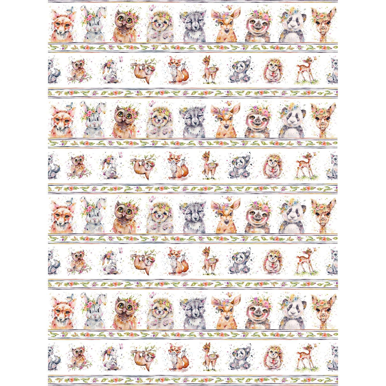 LIDW-4342 MU - LITTLE DARLINGS WOODLAND BY SILLIER THAN SALLY ANIMALS STRIPE MULTI