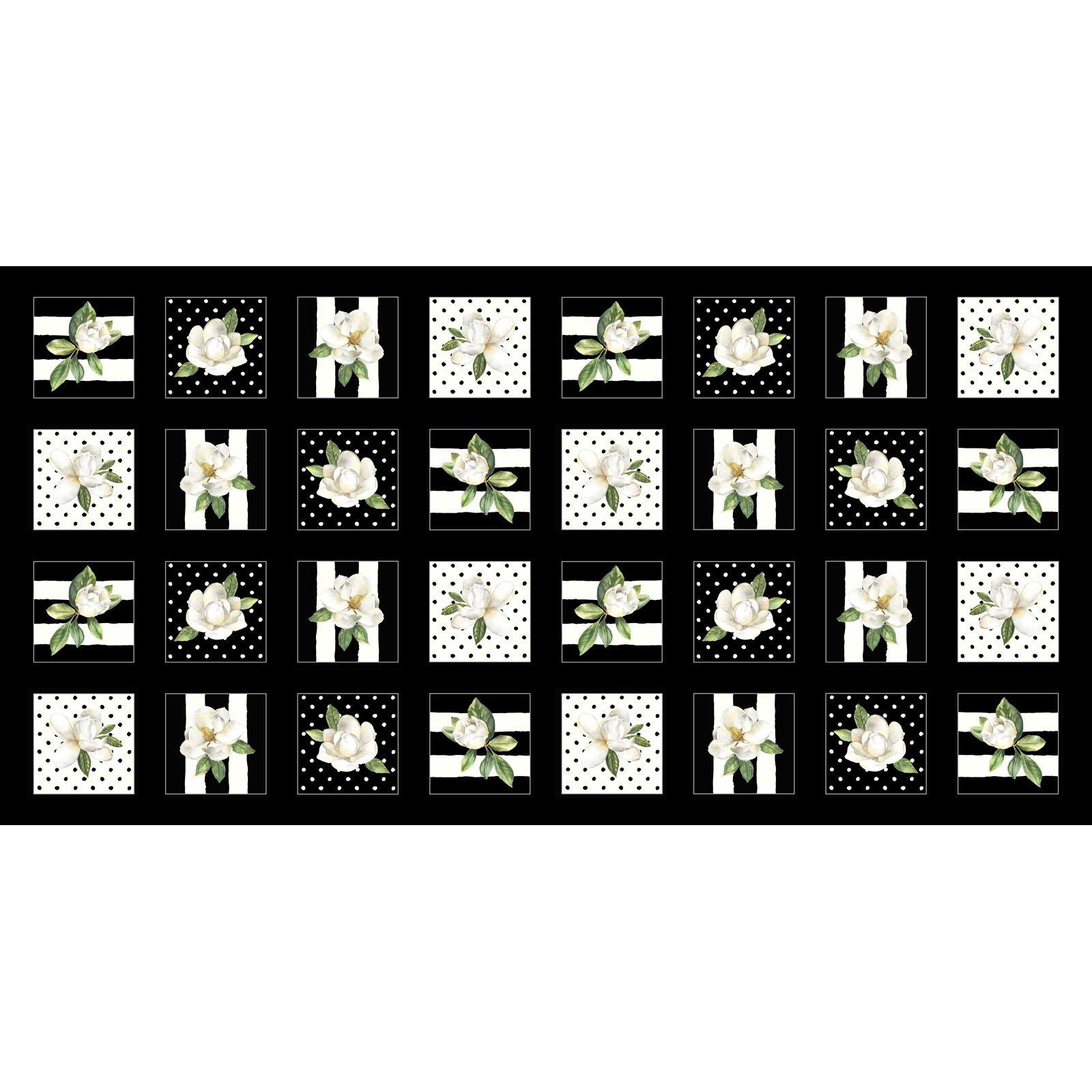 MAGN-4278 K - MAGNOLIAS BY SANDY CLOUGH 4 MAGNOLIA SQ BLACK