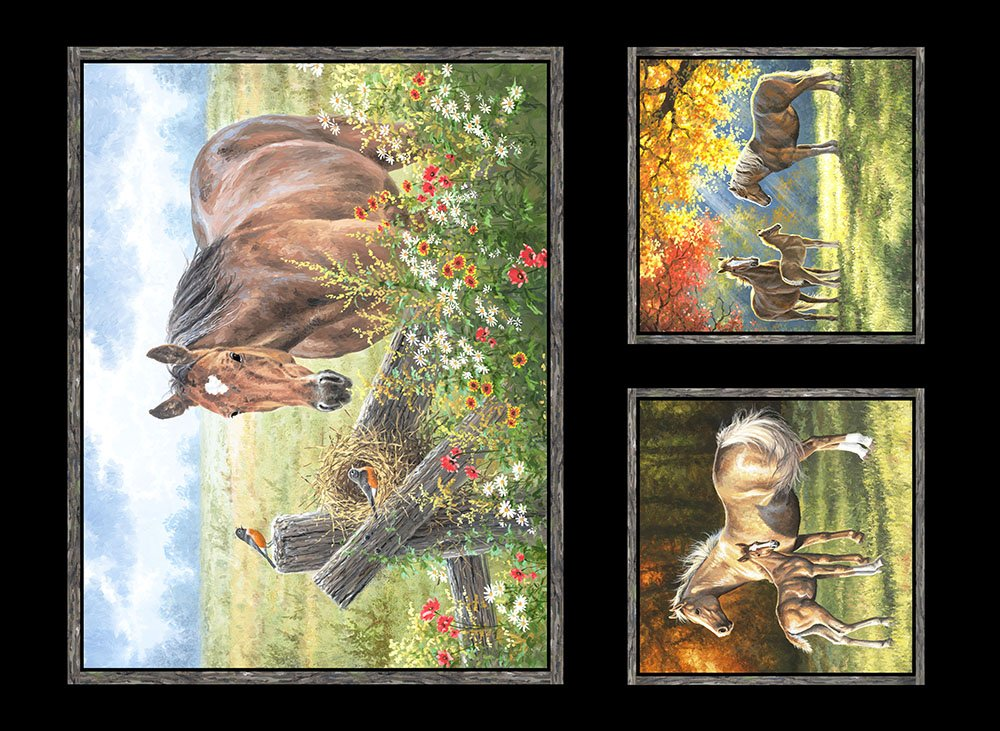 PASO-4085 MU - PASTORAL SONG BY ABRAHAM HUNTER HORSE PANEL 11PNL MULTI