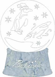 SHAN-LC017 PE - PENGUIN SNOW GLOBE LASER CUT BY SHANIA BELIEVE WHITE GREY BATIK