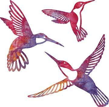 SHAN-LC002 02 - HUMMINGBIRD LASER CUTS BY SHANIA SUNGA 5&6.5&8/PKG RED OR PK PUR