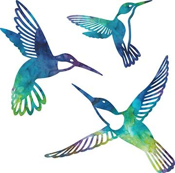 SHAN-LC002 03 - HUMMINGBIRD LASER CUTS BY SHANIA SUNGA 5&6.5&8/PKG GRN BLU PUR YEL
