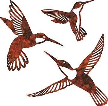 SHAN-LC002 04 - HUMMINGBIRD LASER CUTS BY SHANIA SUNGA 5&6.5&8/PKG RUST BROWN