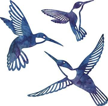 SHAN-LC002 06 - HUMMINGBIRD LASER CUTS BY SHANIA SUNGA 5&6.5&8/PKG BLUE PURPLE
