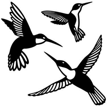 HUMMINGBIRD LASER CUT APPLIQUES BY SHANIA SUNGA 3 SIZES/PKG 5, 6.5 & 8