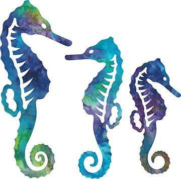 SHAN-LC003 04 - SEAHORSE LASER CUTS BY SHANIA SUNGA 5&6.5&8/PKG BLUE PURPLE GREEN