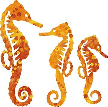 SHAN-LC003 07 - SEAHORSE LASER CUTS BY SHANIA SUNGA 5&6.5&8/PKG RED ORANGE YEL
