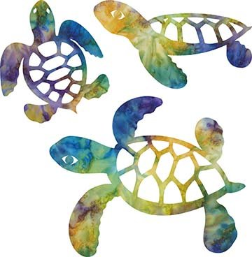 SHAN-LC005 01 - TURTLE LASER CUTS BY SHANIA SUNGA 5&6.5&8/PKG BLUE GRN PINK PUR YEL