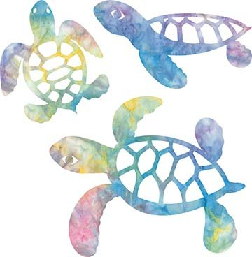 SHAN-LC005 02 - TURTLE LASER CUTS BY SHANIA SUNGA 5&6.5&8/PKG BLUE GRN PINK PUR YEL