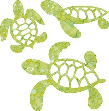 SHAN-LC005 04 - TURTLE LASER CUTS BY SHANIA SUNGA 5&6.5&8/PKG GREEN BLUE