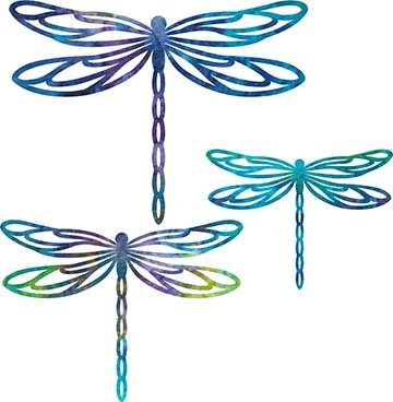 SHAN-LC006 02 - DRAGONFLY LASER CUTS BY SHANIA SUNGA 5&6.5&8/PKG BLUE GRN PINK PUR