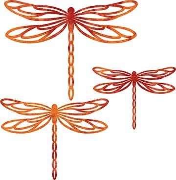 SHAN-LC006 03 - DRAGONFLY LASER CUTS BY SHANIA SUNGA 5&6.5&8/PKG RED ORANGE BATIK