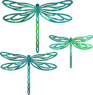 SHAN-LC006 05 - DRAGONFLY LASER CUTS BY SHANIA SUNGA 5&6.5&8/PKG GREEN TURQUOISE