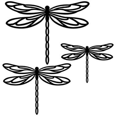 DRAGONFLY LASER CUT APPLIQUES BY SHANIA SUNGA 3 SIZES/PKG 5, 6.5 & 8