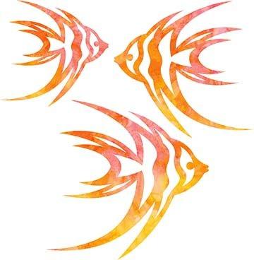 SHAN-LC008 01 - ANGELFISH LASER CUTS BY SHANIA SUNGA 5&6.5&8/PKG ORANGE PINK YELLOW BATIK