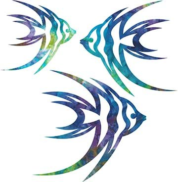 SHAN-LC008 02 - ANGELFISH LASER CUTS BY SHANIA SUNGA 5&6.5&8/PKG BLUE GRN PINK PUR