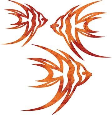 SHAN-LC008 04 - ANGELFISH LASER CUTS BY SHANIA SUNGA 5&6.5&8/PKG ORANGE RED
