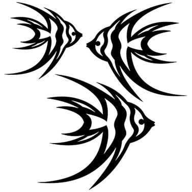 ANGELFISH LASER CUT APPLIQUES BY SHANIA SUNGA 3 SIZES/PKG 5, 6.5 & 8