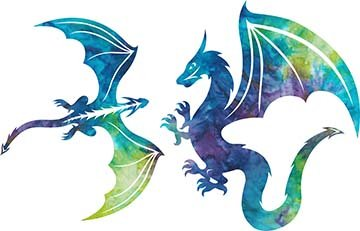SHAN-LC010 01 - DRAGONS LASER CUTS BY SHANIA SUNGA 11&12/PKG BLUE GREEN PINK PUR