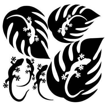 LEAF & GECKO LASER CUT APPLIQUES BY SHANIA SUNGA 3 SIZES/PKG 7, 8 & 10