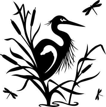 SHAN-LC014 - HERON SILHOUETTE LASER CUTS BY SHANIA SUNGA 18X18 BLACK BA
