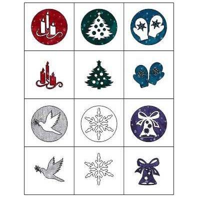CHRISTMAS ORNAMENT LASER CUT APPLIQUES BY SHANIA SUNGA 12/PKG 3.75 & 4.6